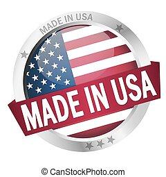 bottone, fatto, bandiera, stati uniti