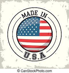 bottone, fatto, disegno, bandiera, stati uniti