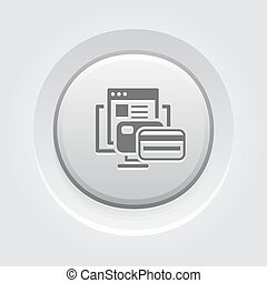 bottone, grigio, linea, icon., pagamento, design.