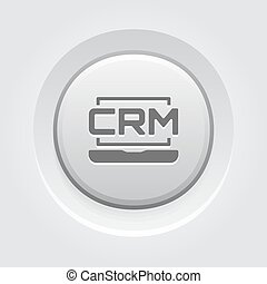 bottone, grigio, sistema, linea, icon., crm, design.