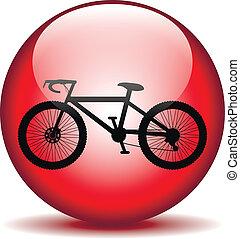 bottone, icona, bicicletta, rotondo, internet