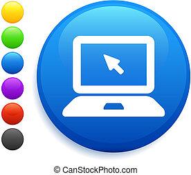 bottone, icona computer, rotondo, laptop, internet