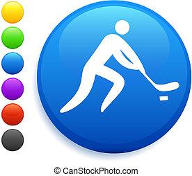 bottone, icona, rotondo, hockey, internet
