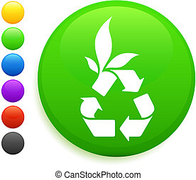 bottone, icona, rotondo, riciclare, internet