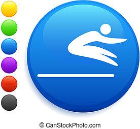 bottone, icona, rotondo, salto, lungo, internet