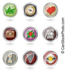 bottone, icona, set., lucido