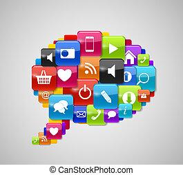 bottone, illustrazione, vetro, vettore, bolla discorso, icona