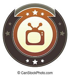 bottone, imperiale, televisione, retro