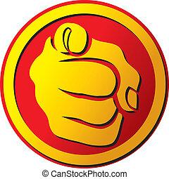 bottone, indicare, mano