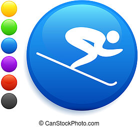 bottone, internet, rotondo, icona, sciare