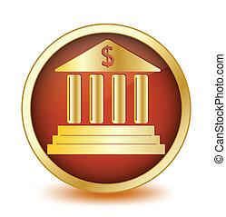bottone, interno., vettore, cerchio, simbolo, banca