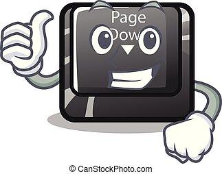 bottone, isolato, su, giù, pollici, cartone animato, pagina