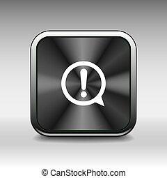 bottone, lucido, marchio, icona, esclamazione, cerchio