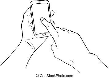 bottone, mano, telefono, tocco, casa, far male