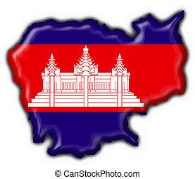 bottone, mappa, bandiera, cambogia, americano