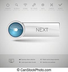 bottone, moderno, lucido