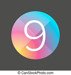 bottone, nove, numero, colorito