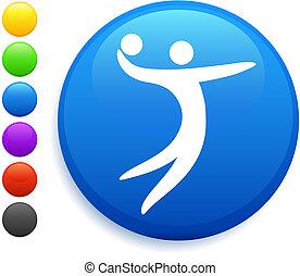 bottone, pallavolo, icona, rotondo, internet