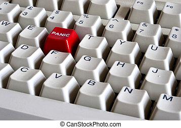 bottone, panico, rosso