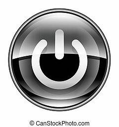 bottone potere, nero, isolato, bianco, fondo.