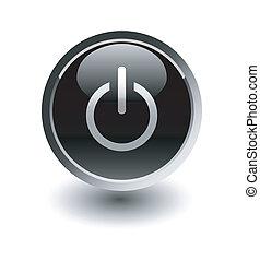 bottone potere, whi, /, inizio, nero, sopra