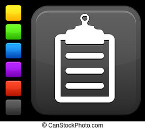 bottone, quadrato, appunti, icona, internet