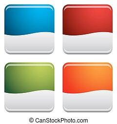 bottone, quadrato, arrotondato, set, icona
