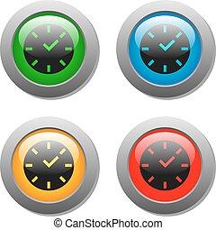 bottone, quadrato, orologio, icona