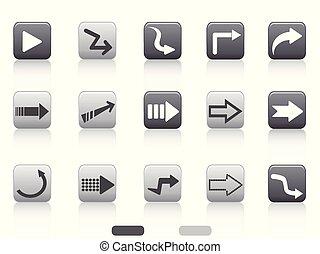 bottone, quadrato, set, freccia