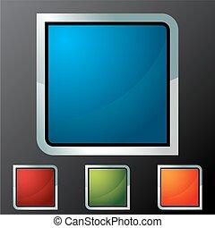 bottone, quadrato, set, icona
