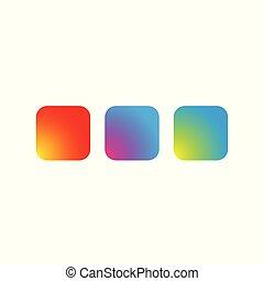 bottone, quadrato, set, vuoto