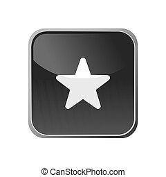 bottone, quadrato, stella, icona