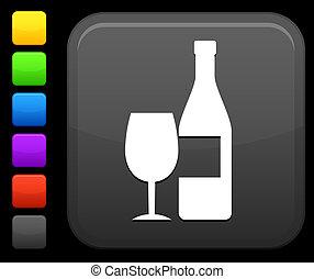 bottone, quadrato, vino, icona, internet