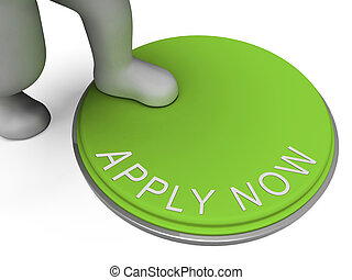 bottone, reclutamento, ora applichi, occupazione, mostra