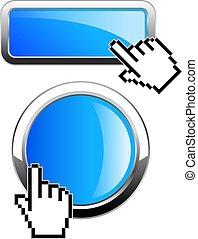 bottone, rectange, web, rotondo