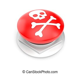 bottone, rosso, cranio, segno