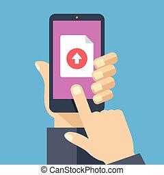 bottone, smartphone, upload, file