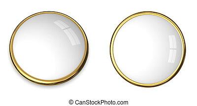 bottone, superficie bianca, oro, 3d