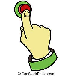 bottone, urgente, dito