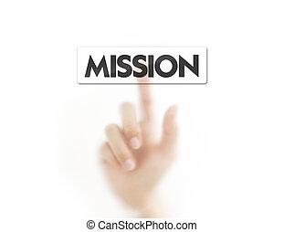 bottone, urgente, dito, missione