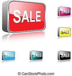 bottone, vendita, icona