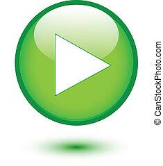 bottone, verde, gioco, lucido