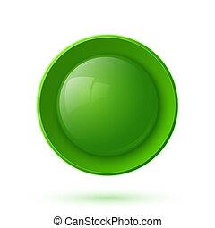 bottone, verde, lucido, icona