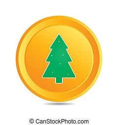 bottone, vettore, element), albero natale, (web