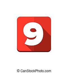 bottone, vettore, nove, numero