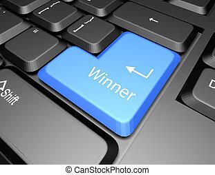 bottone, vincitore, tastiera