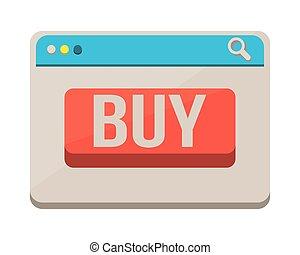 bottone, webpage, sagoma, comprare