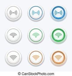 bottone, wifi, fili, vettore, o, icona