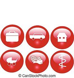 bottoni, assicurazione, rosso