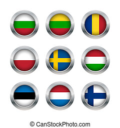 bottoni, bandiera, set, 3